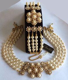 Vintage Miriam Haskell Necklace Bracelet Set~Pearl/Rhinestone/Goldtone Filigree #MiriamHaskell