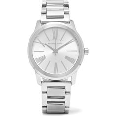 Michael Kors Watches Hartman silver-plated watch (165.540 CRC) ❤ liked on Polyvore featuring jewelry, watches, silver, roman numeral jewelry, michael kors watches, quartz movement watches, logo watches and polish jewelry