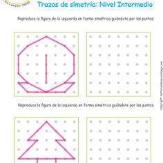 Ejercicio 02nivel intermedio: Actividadesescolares de trazos de simetría paradesarrollar la memoria y la atencióncon los niños.