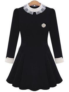 Shop Black Contrast Collar Brooch Embellished Slim Dress online. SheIn offers…