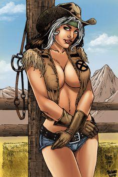 Cowgirl Rogue Penciler: Marcio Abreu Colorist: Troiano Comics Feel Free to… Gi Joe, Comic Book Girl, Comic Books, Grimm, X Men, Rogue Gambit, Sexy Cowgirl, Sexy Cartoons, Comics Girls