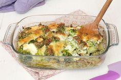 Pasticcio di broccoli e salsiccia con stracchino e scamorza