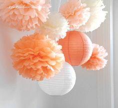 Fall in Love - 6 Tissue Paper Pom Poms plus 2 Paper Lantern - Fast Shipping - Wedding / Baby Shower / Birthday Party / Nursery Decor
