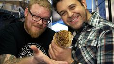 Adam Richman, Brian Wood and the roast beef big ass sandwich...I CANNOT WAIT to go to Portland and have one of these sandwiches. Amazing!!!