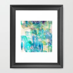 """Waterlily Framed Art Print The Vector frame is made from solid wood with a contemporary, angular profile measuring 0.87"""" wide x 0.87"""" deep. #pastel, #blue, #painterly, #painting, #abstract, #amy sia, #green"""