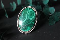 Junbo malachite ring by TheNocturnalMoon on Etsy https://www.etsy.com/listing/456369878/junbo-malachite-ring #malachite #green #ring #handmade #handmadejewelry #abstract #art #nature