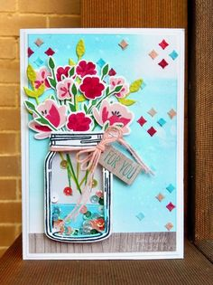 Kim's Stamping Spot: Just Add Ink Choose Two Mason Jar Cards, Mason Jars, Love Jar, School Routines, Faith In Love, Shaker Cards, Flower Cards, Greeting Cards Handmade, Back Home