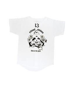 "Ritual Union — White ""Skin in the Game"" Baseball Knit #streetwear #streetwearfashion #street #streetstyle #veryrare #menswear #supremenyc #pigalle #outfitoftheday #pyrex #pyrexvision #beentrill #givenchy #supreme #balmain #hba #hoodbyair #rhude #hypebeast #outfitgrid #ktz #kanyewest #yeezy #yeezus #asaprocky  #blackfashion #givenchy #mensfashion #highsnobiety"