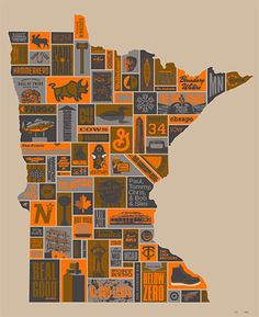 """""""Thank You Minnesota"""" Poster printed by Burlesque of North America by @Draplin Design  #screenprinting"""