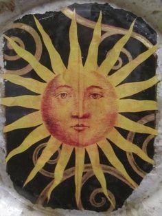 Collectible Plate Artisan Art Deco Sun Face Design Reverse Image Glass | GoldenDaysGoneBy - Folk Art & Primitives on Art