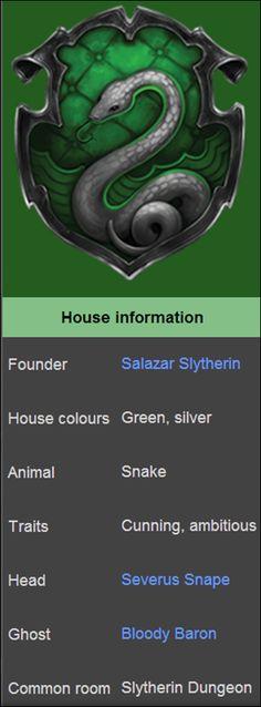 Harry Potter - Sonserina - O animal-símbolo é a serpente e as cores são verde e prata. O Barão Sangrento é o fantasma. De acordo com Rowling, os Slytherin representa um elemento: a água