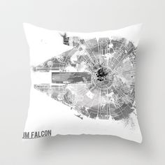 Star Wars Vehicle Millennium Falcon Throw Pillow by Nicholas Hyde - $20.00