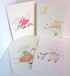 Pretty little girls in sun hats doing what they do best...play! By wonderlaneart.