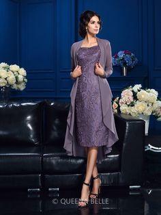 Sheath/Column Straps Sleeveless Chiffon Knee-Length Mother Of The Bride Dresses