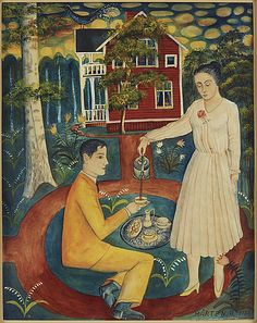 Mårten Andersson: De nygifta motiv från Freluga by, 1958, akvarell med täckvitt på papper, 40x32 cm - Bukowskis Market 11/2016