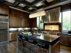 ilot laqué noir cuisine moderne