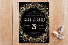"""Floral Crown"" - Floral & Botanical, Whimsical & Funny Wedding Invitations in Navy by Lori Wemple."