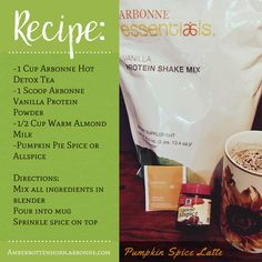 This healthy pumpkin spice latte is made with Arbonne's Vanilla Protein Shake Mix Powder & Arbonne Detox Tea.this is so yummy! Arbonne Shake Recipes, Arbonne Protein Shakes, Arbonne 30 Day Cleanse, Arbonne Detox, Arbonne 30 Day Challenge, Keto Brownies, Keto Desserts, Makeup Tricks, Sin Gluten