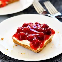 Cherry Delight is an easy dessert recipe with a graham cracker crust, a cheesecake center, and topped off with cherry pie filling. This is a family-favorite dessert! With all that talk about food for the Cherry Delight Dessert, Cherry Desserts, Easy Desserts, Delicious Desserts, Dessert Recipes, Cherry Delight Recipe With Dream Whip, Pie Recipes, Copycat Recipes, Pasta Recipes
