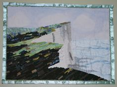 Beautiful fabric mosaic art quilt. Towards Beachy Head by Debbi Plato