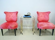 Vintage 1950s Pink Velvet Side Lounge Chairs