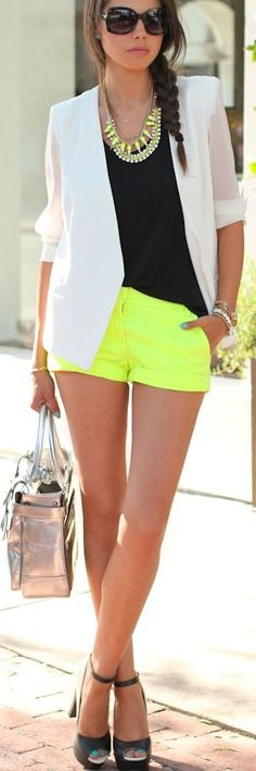 Neon shorts, black tank, white blazer, and black heels. except for the neon shorts, i love the rest look Look Fashion, Teen Fashion, Fashion Outfits, Womens Fashion, Fashion Trends, Spring Fashion, Runway Fashion, Simply Fashion, Gypsy Fashion
