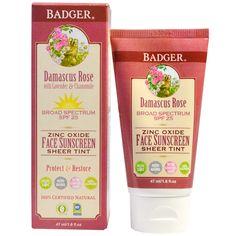 Badger Company, Zinc Oxide Face Sunscreen Sheer Tint, SPF 25, Damascus Rose, 1.6…