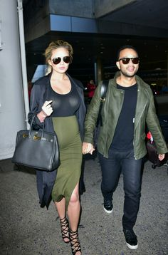Chrissy Teigen Borrows Kim Kardashian's Maternity Uniform - Chrissy Teigen Pregnancy Style