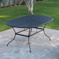 Outdoor Woodard Stanton 42 x 72 in. Oval Wrought Iron Patio Dining Table - Textured Black - STA-1172