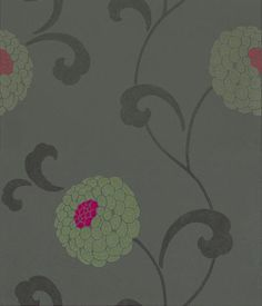 Dahlia Trail (W5331/05) - Osborne & Little Wallpapers - A beautiful pompom dahlia floral trail with metallic gold blooms with raspberry pink centres, on a dusky chocolate brown background.  Please ask for sample for true colour match.