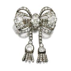 Diamond bow brooch, circa 1840.