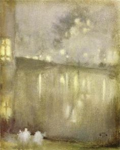 Above: Nocturne Grey and Gold - Canal, 1883-84 -James McNeill Whistler  .  Softly the evening cameThe sun from the western horizon Like a magician extended his golden want o'er the landscape Trinkling vapors arose; and sky and water and forest Seemed all on fire at the touch, and melted and mingled together..  ~Henry Wadsworth Longfellow  Evangeline, 1847, Canto II - Part II