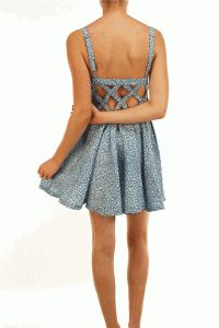 Leopard Print Cut-Out Darling A-line Denim Dress In Baby Blue Denim/White Leopard Print