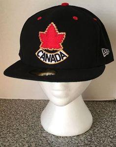 Team Canada Hockey Black Hat Cap New Era 59 Fifty 7 7/8 Leaf Crest Logo  #NewEra