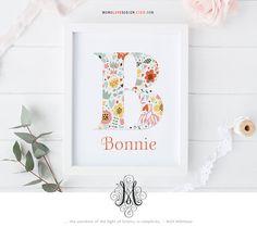 Baby Girl Floral Monogram Design Nursery Decor Letter Art Floral Printable Art Flower Calligraphy Monogram Name Initial Art Printable Letter