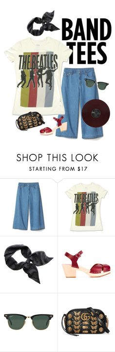 """Wear It Eight Days A Week"" by rachael-aislynn ❤ liked on Polyvore featuring Swedish Hasbeens, Ray-Ban, Gucci, Summer, denim, Tshirt, bandtee and bandtees"