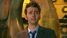 The four takes of 10's final line. You can just see the sadness in his face increasing. That's what I love about David Tennant, this truly was his dream ending and he shows how he feels with this one line. (GIF)