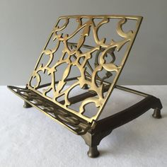 Vintage Brass Adjustable Tabletop Stand for Sheet Music, Cookbook, Book, Art by FiftyBeautifulThings on Etsy