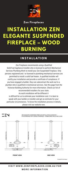 Discover Our Suspended Fireplace Installation Instructions. We Recommend You Use A Qualified Installer Who is Licensed in Mechanical Services Work. Safety is The Number One Priority When Installing A Solid Fuel-Burning Appliance Such as A Suspended Fireplace. Call Us Today For More Information On Suspended Fireplaces. Suspended Fireplace, Installation Instructions, Number One, Appliance, Wood Burning, Fireplaces, Plumbing, Zen, Safety