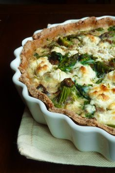 Asparagus & Goat Cheese Quiche with Caramelized Onions