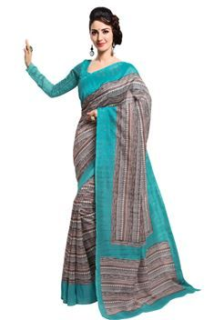Elegant Chocolate,Teal Color Printed Silk Saree
