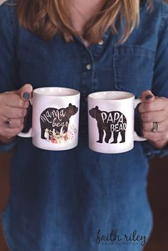 This listing is for a SET of 11oz or 15 oz white ceramic Coffee Mugs. You will receive 1 mama bear mug and 1 papa bear mug. These mugs can also be purchased separately, see shop for individual listings.  -Design: Two Sided Design, printed with sublimation -Material: 100% White Ceramic -Size: 11 or 15 Fluid OZ -Care: Dishwasher (top rack) + Microwave Safe -Gift Message: available only with the purchase of gift wrap -Available for wholesale: yes (message me for details)…