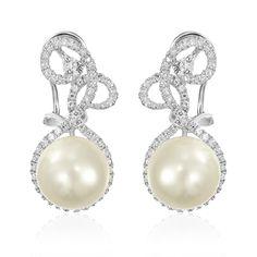 Cercei argint Omega Clip Drop Earrings Perla Cod TRSE051