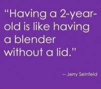 Having a 2-year-old is like having a blender without a lid.