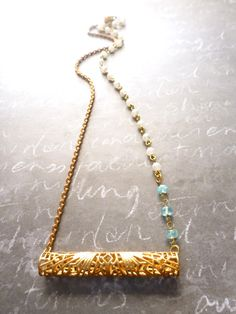Today's pick! Vintage filigree tube necklace with apatite stones & Swarovski pearls - 30% off, today only --> http://laurenembree.bigcartel.com/product/vintage-filigree-necklace <-- discount code MYPICK at checkout!