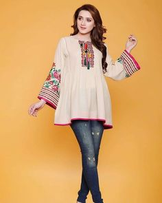 he Latest Fashion Trend In Pakistani dresses 2019 with jeans.famous brand online shopping, luxury embroidered suit now in buy online & shipping wide nation. Pakistani Fashion Casual, Pakistani Dresses Casual, Pakistani Dress Design, Casual Dresses, Pakistani Bridal, Stylish Dresses For Girls, Stylish Dress Designs, Kurta Designs Women, Blouse Designs