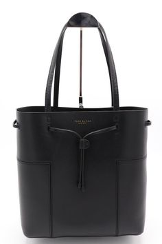 ad77a801686 NWT Tory Burch Block-T Black Leather Drawstring Bucket Tote Shoulder Bag  New  ToryBurch