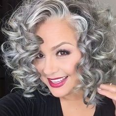 Hair Styles 2020 – How do you put your hair up without a hair tie? Grey Curly Hair, Long Gray Hair, Silver Grey Hair, Short Curly Hair, Curly Hair Styles, Grey Hair Over 50, Grey Hair Inspiration, Transition To Gray Hair, Hairstyles Over 50