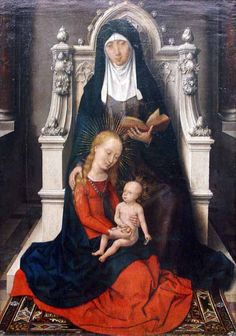 The Mother and Grandmother of Jesus  Some artists have depicted the young mother Mary watching the child Jesus with St. Anne, her own mother and thus grandmother of Jesus.
