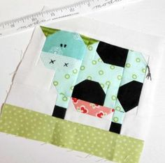 Patchwork Cow block made up in Bonnie and Camille 'Hello Darling' fabric. Paper Piecing Patterns, Quilt Block Patterns, Pattern Blocks, Quilt Blocks, Star Blocks, Quilting Projects, Quilting Designs, Sewing Projects, Farm Quilt